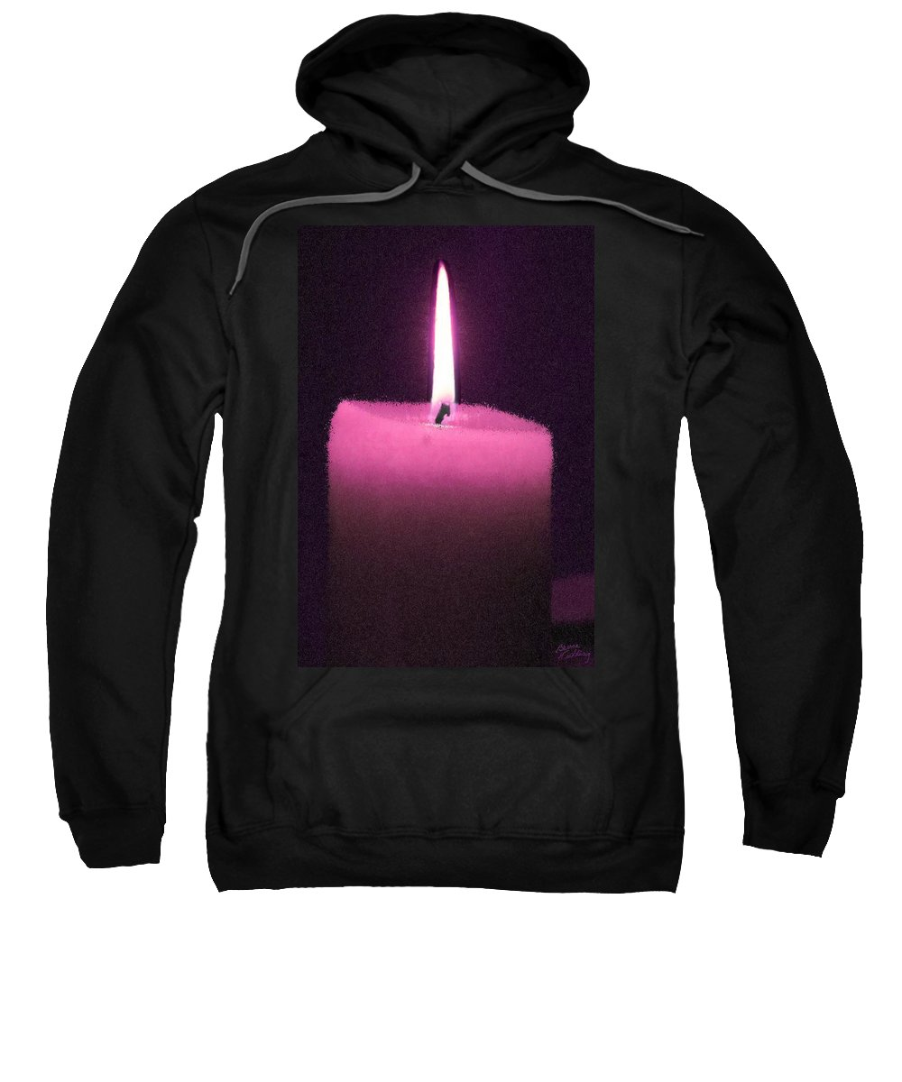 Pink Sweatshirt featuring the painting Pink Lit Candle by Bruce Nutting