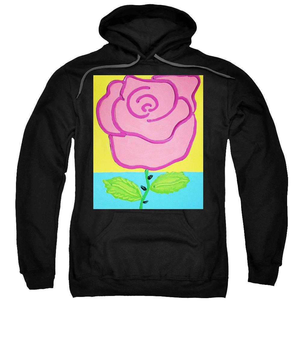 Rose Sweatshirt featuring the painting Pink Rose by Matthew Brzostoski