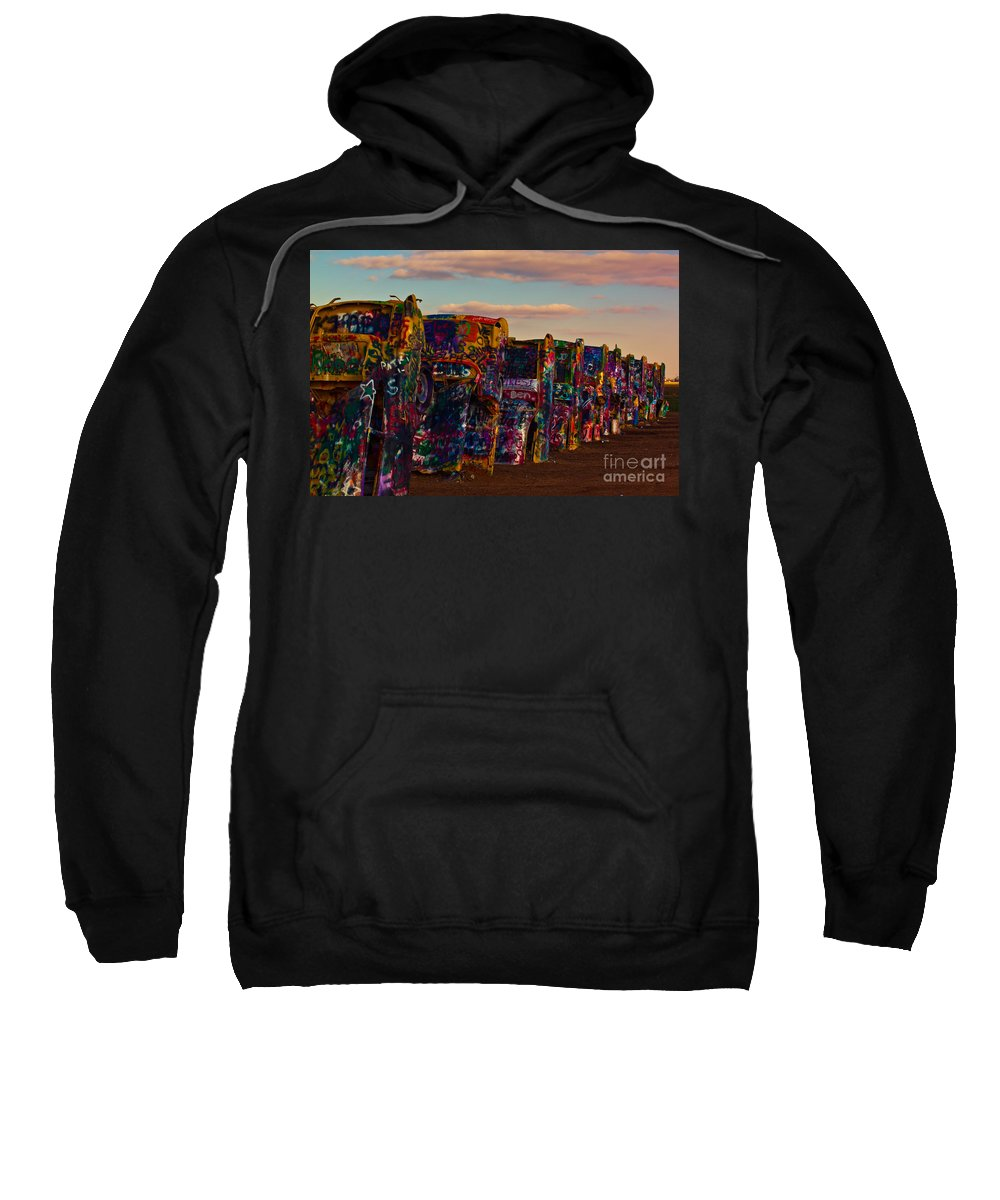 Landmark Sweatshirt featuring the photograph Pink Sky At Cadillac Ranch by Robert Frederick