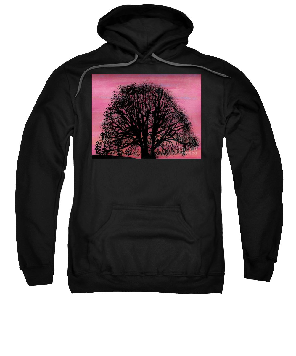Sunset Sweatshirt featuring the drawing Pink Sunset Tree by D Hackett