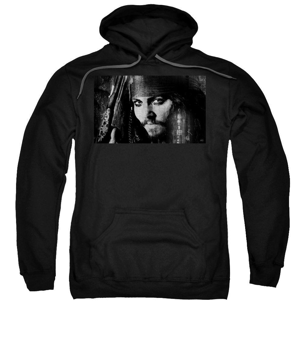Pirate Sweatshirt featuring the digital art Pirate Life - Black And White by Absinthe Art By Michelle LeAnn Scott