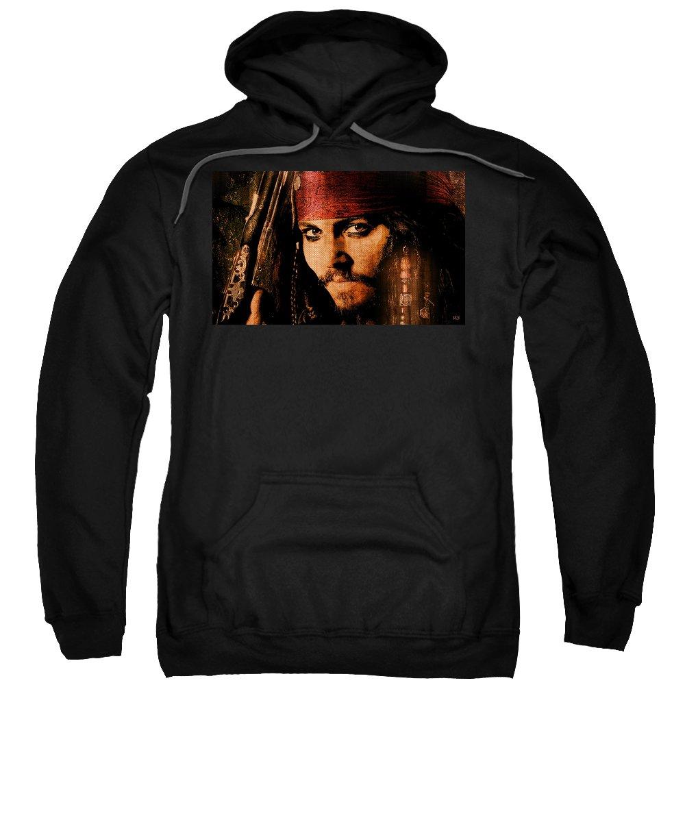 Pirate Sweatshirt featuring the digital art Pirate Life - Rum Sunset by Absinthe Art By Michelle LeAnn Scott