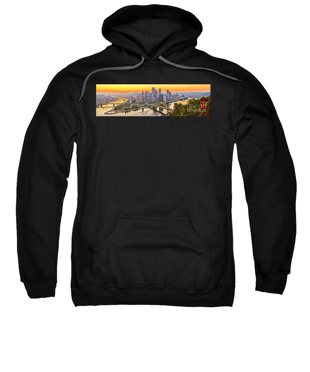Duquesne Incline Sweatshirt featuring the photograph Pittsburgh Incline Sunrise Panorama by Adam Jewell