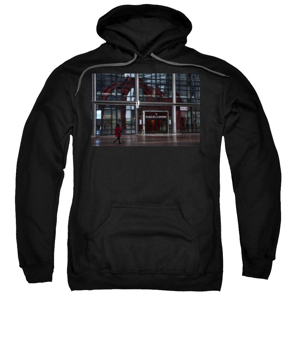 Arch Sweatshirt featuring the photograph Place De La Defense by Evie Carrier