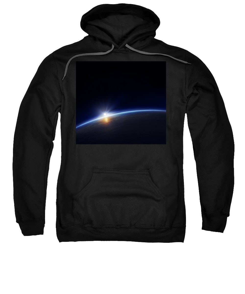 Atmosphere Sweatshirt featuring the photograph Planet Earth With Rising Sun by Johan Swanepoel