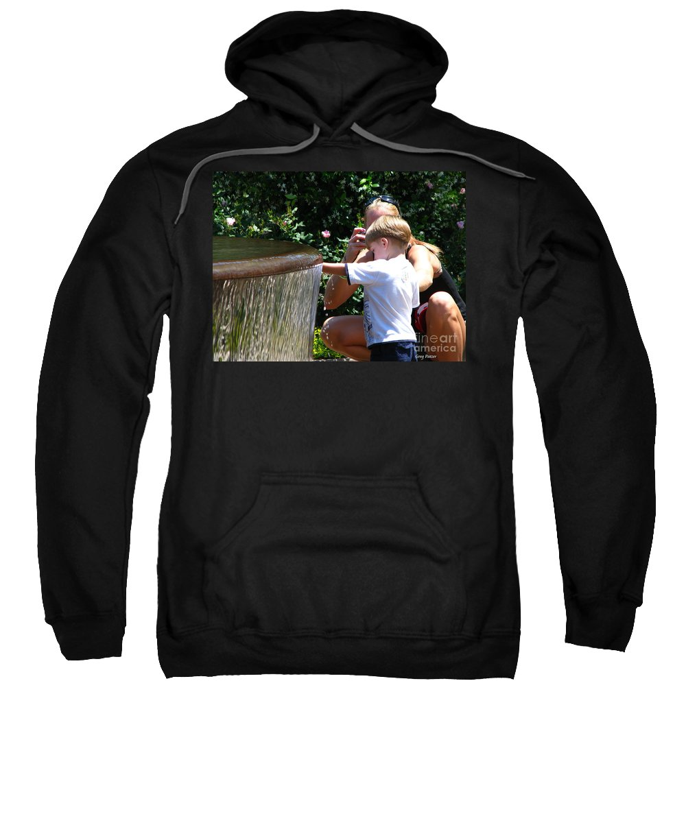 Art For The Wall...patzer Photography Sweatshirt featuring the photograph Playing In Water by Greg Patzer