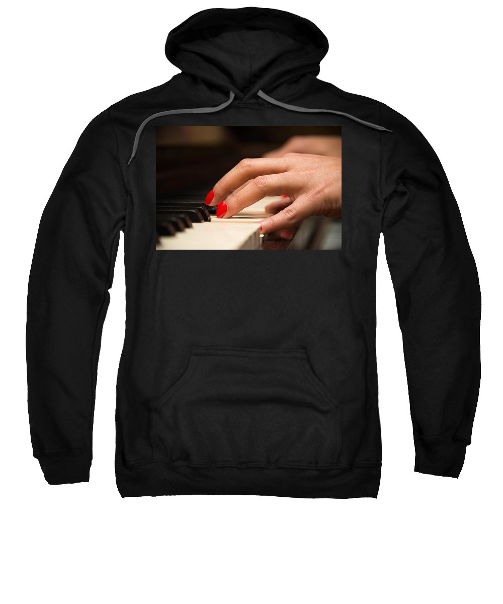Music Sweatshirt featuring the photograph Playing The Piano by Dutourdumonde Photography