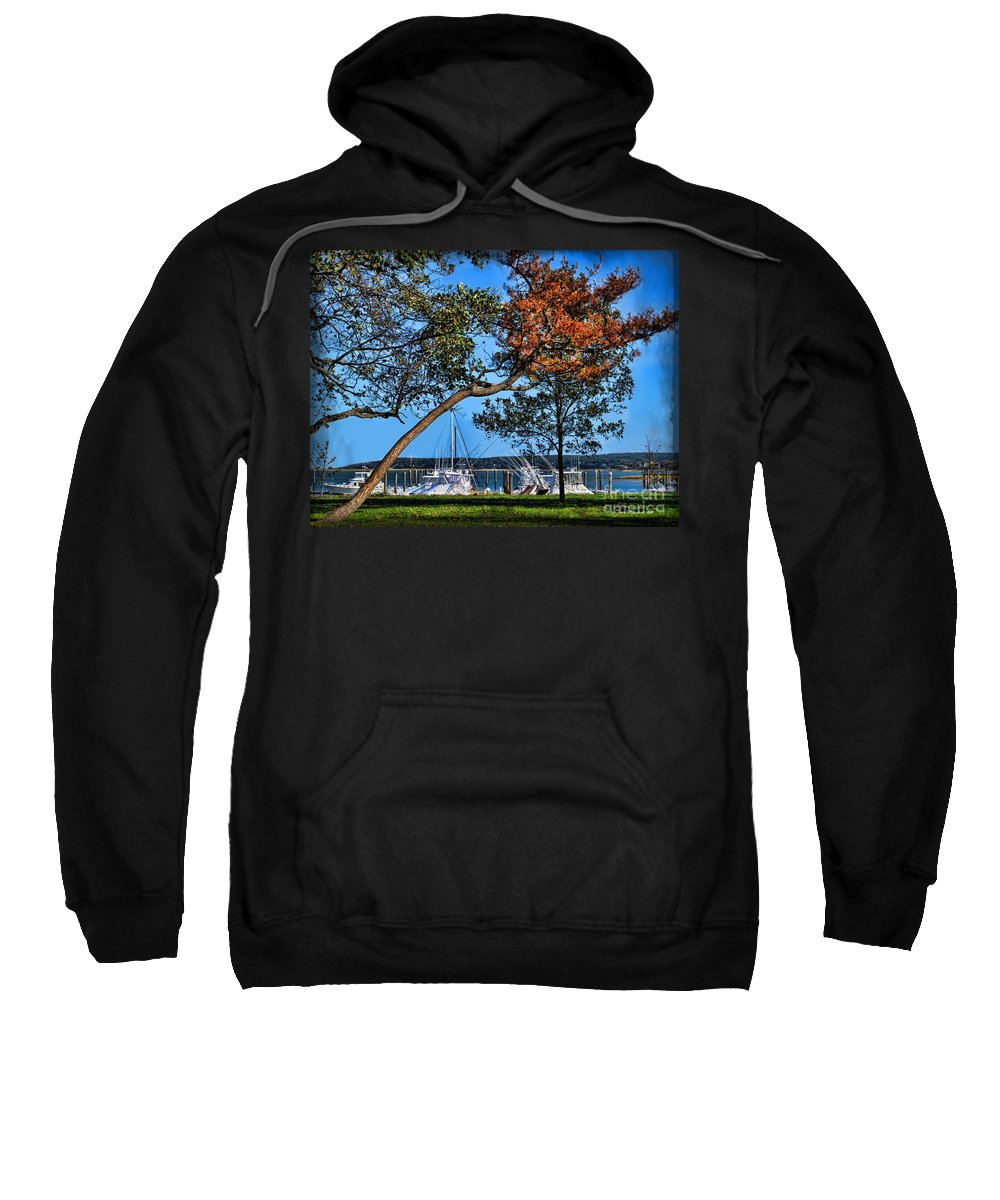 Atlantic Sweatshirt featuring the photograph Plymouth Harbor In Autumn by Joan Minchak