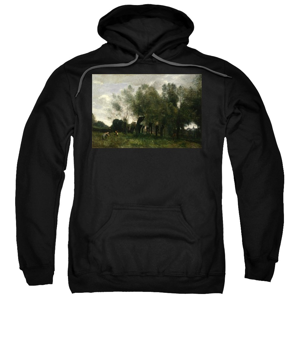 Jean-baptiste-camille Corot Sweatshirt featuring the painting Pollard Willows by Jean-Baptiste-Camille Corot