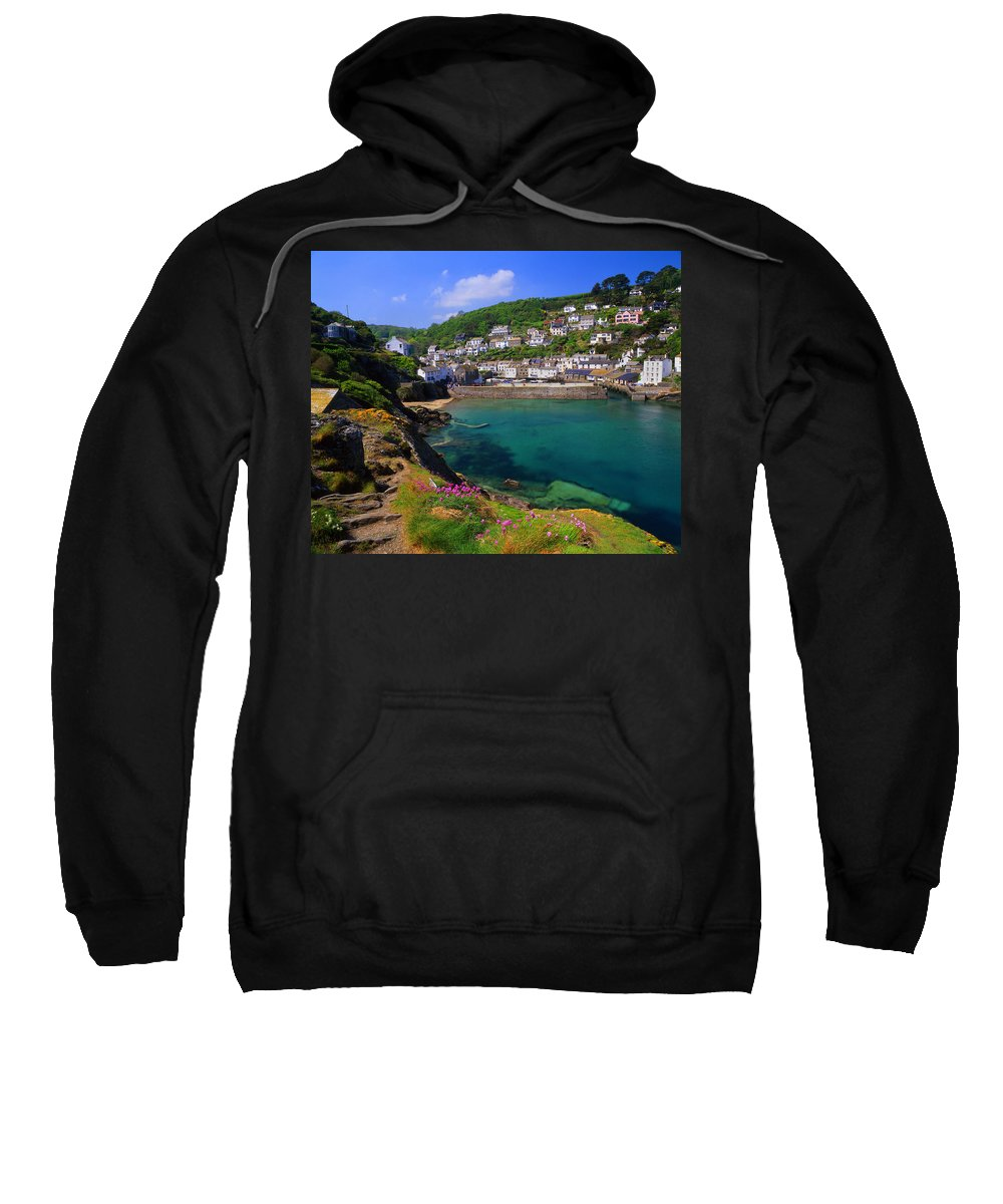Polperro Sweatshirt featuring the photograph Polperro Harbor by Darren Galpin