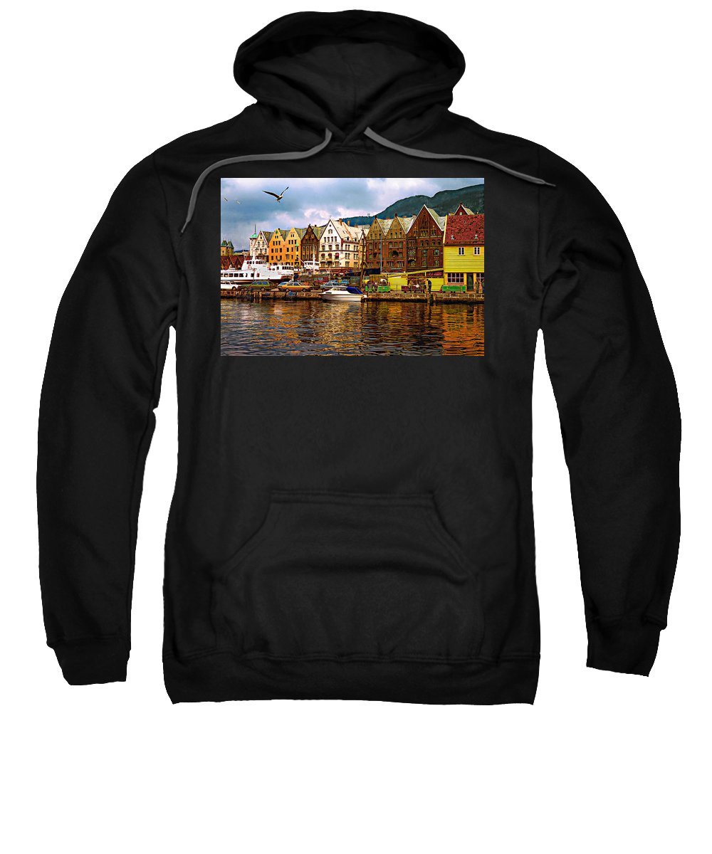 Alesund Sweatshirt featuring the photograph Port Life by Steve Harrington