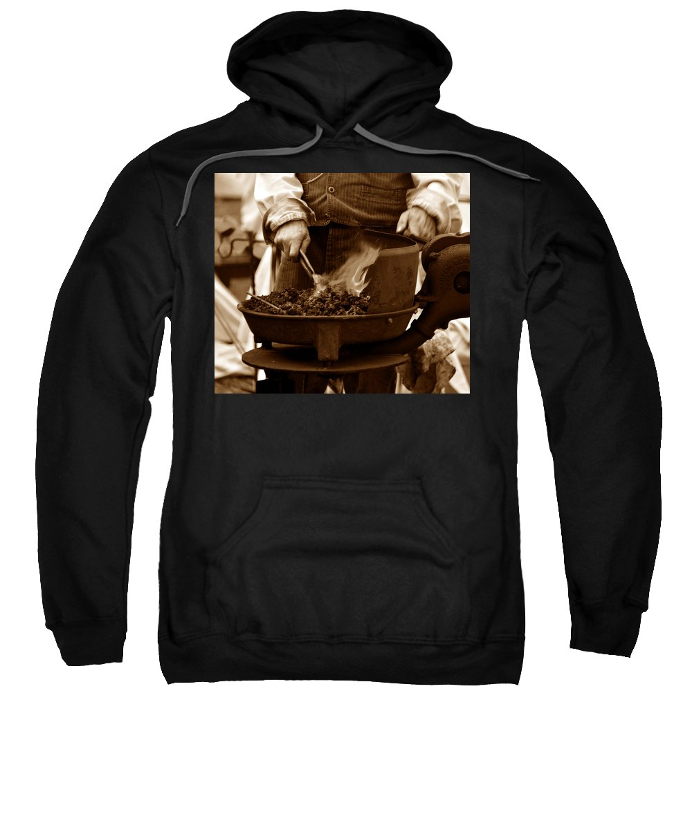 Charcoal Forge Sweatshirt featuring the photograph Portable Forge Circa 1800s by David Lee Thompson