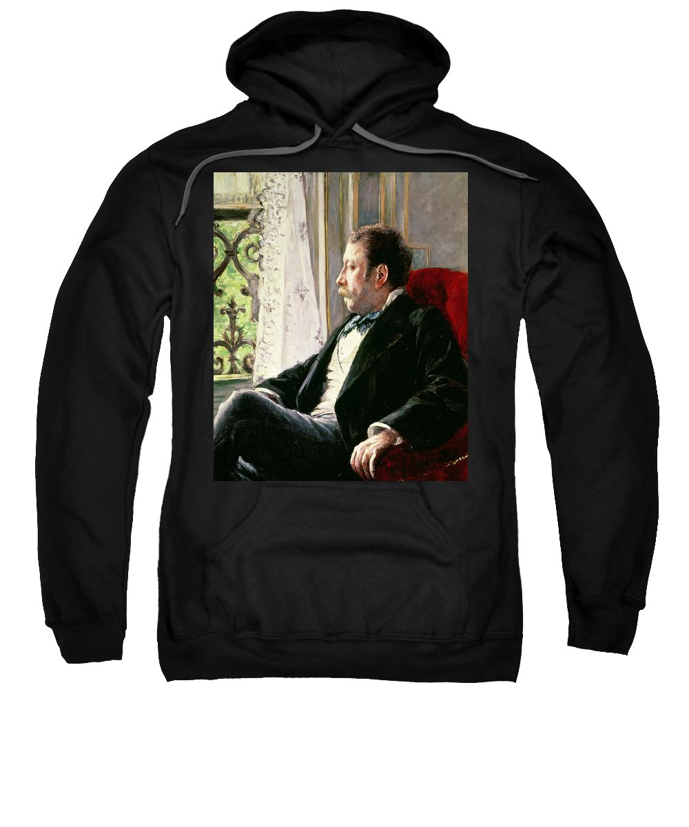 Portrait Sweatshirt featuring the painting Portrait Of A Man by Gustave Caillebotte