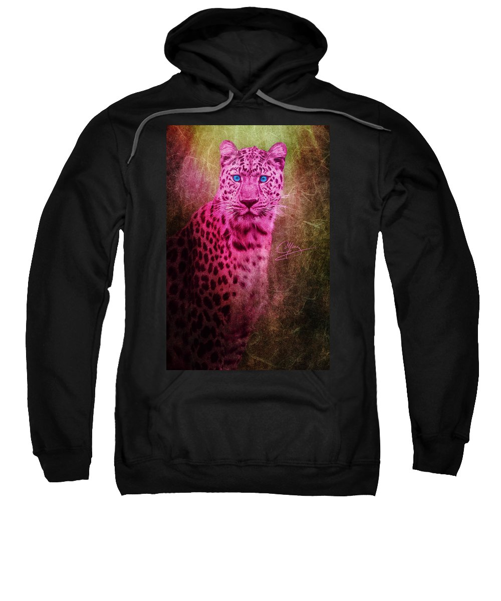 Leopard Sweatshirt featuring the photograph Portrait Of A Pink Leopard by Greg Collins