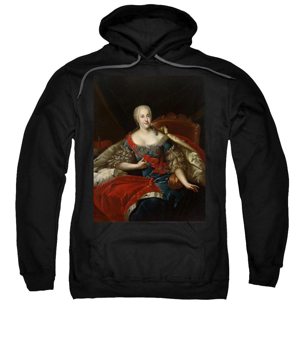 Johanna-elizabeth Holstein-gottorp Sweatshirt featuring the photograph Portrait Of Johanna-elizabeth, Electress Of Anhalt-zerbst, C.1746 Oil On Canvas by Antoine Pesne