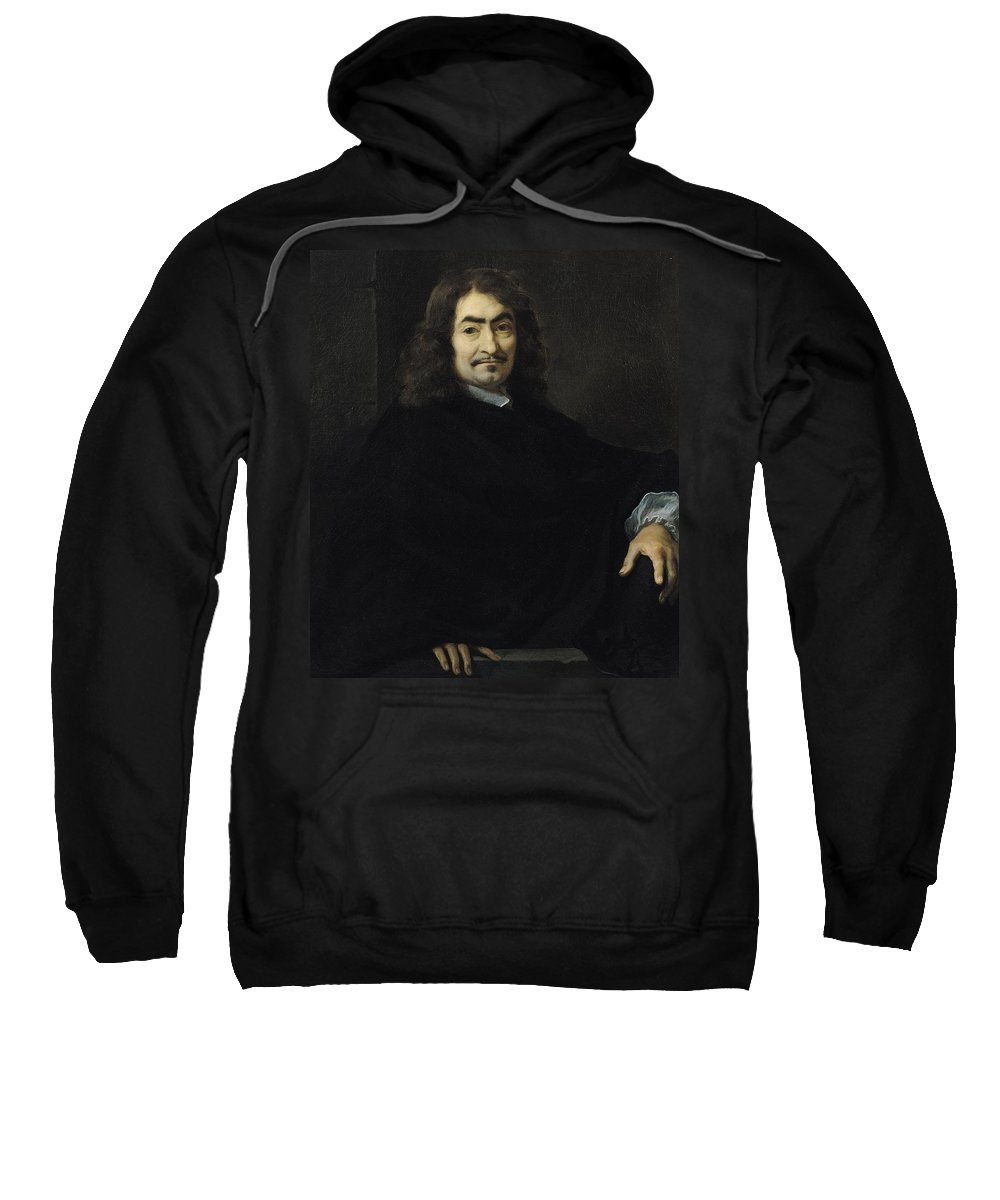 French Philosopher; Male; Moustache; Mathematician Sweatshirt featuring the painting Portrait Presumed To Be Rene Descartes by Sebastien Bourdon