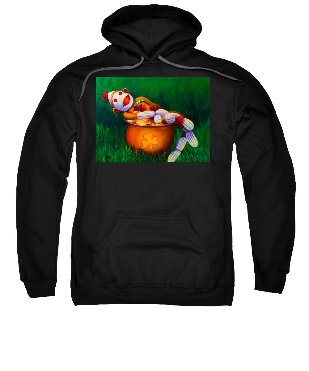 St. Patrick's Day Sweatshirt featuring the painting Pot O Gold by Shannon Grissom