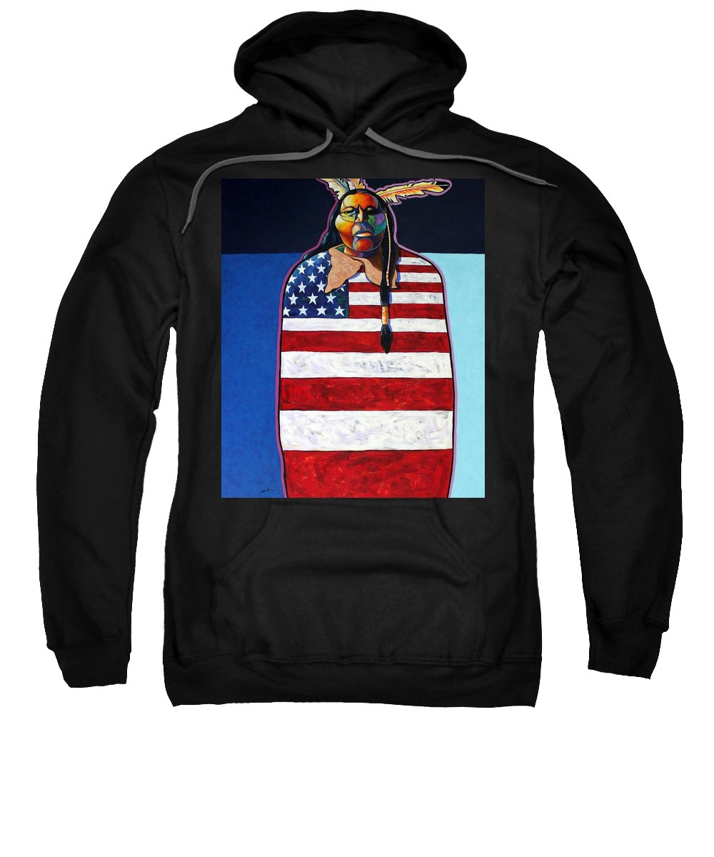 Native American Wrapped In Us Flag Sweatshirt featuring the painting Poverty Still Cracks The Whip by Joe Triano