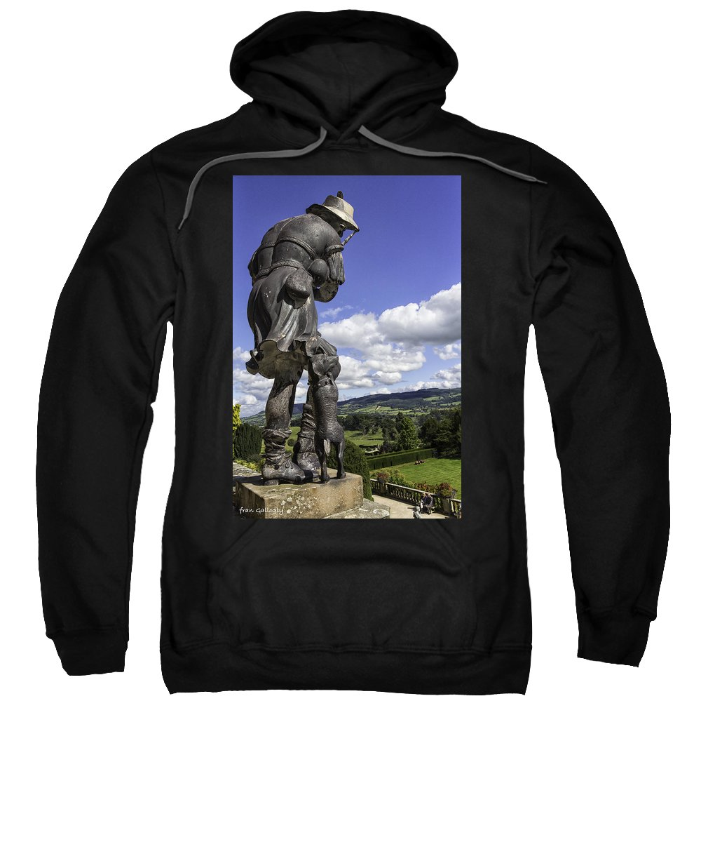 Statue Sweatshirt featuring the photograph Powis Castle Bagpipper by Fran Gallogly