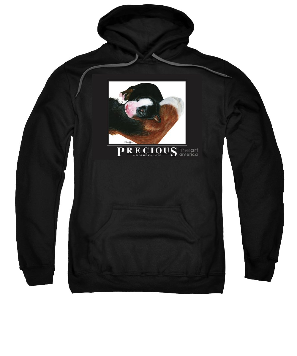 Bernese Sweatshirt featuring the painting Precious - A Mother's Love by Liane Weyers