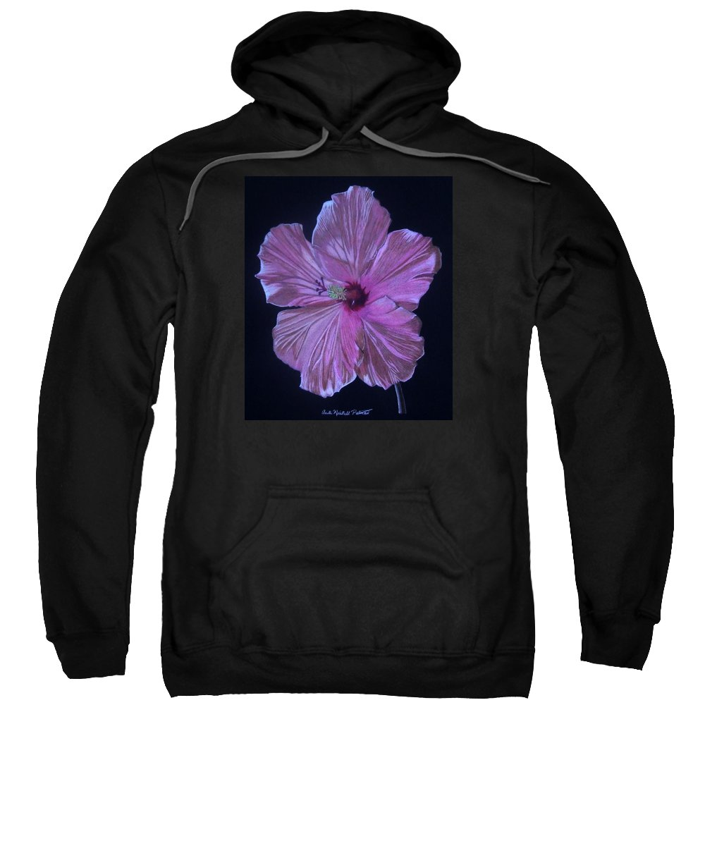 Hibiscus Sweatshirt featuring the drawing Pretty In Pink by Anita Putman