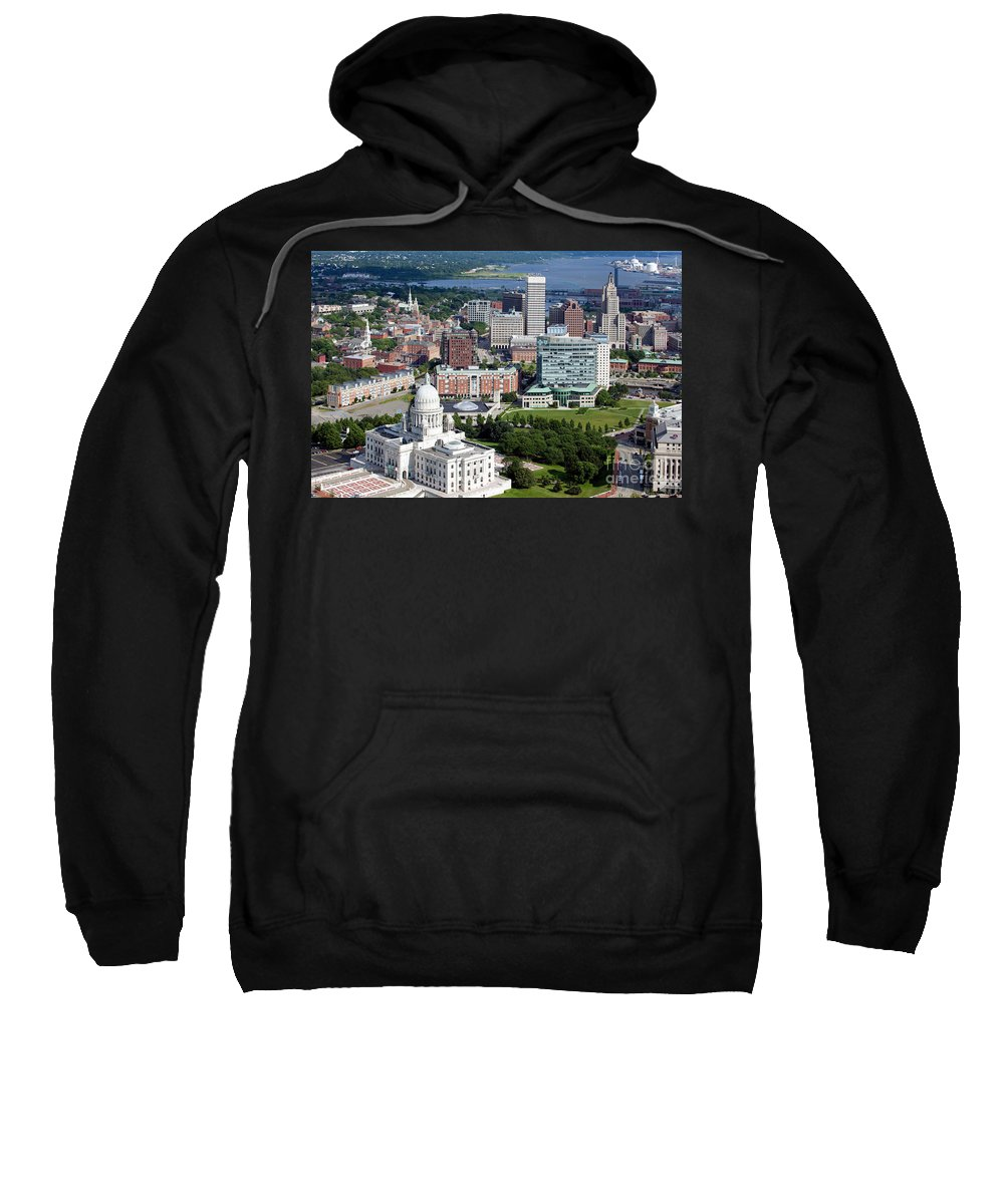 Bank Of America Sweatshirt featuring the photograph Providence Rhode Island Downtown Skyline Aerial by Bill Cobb