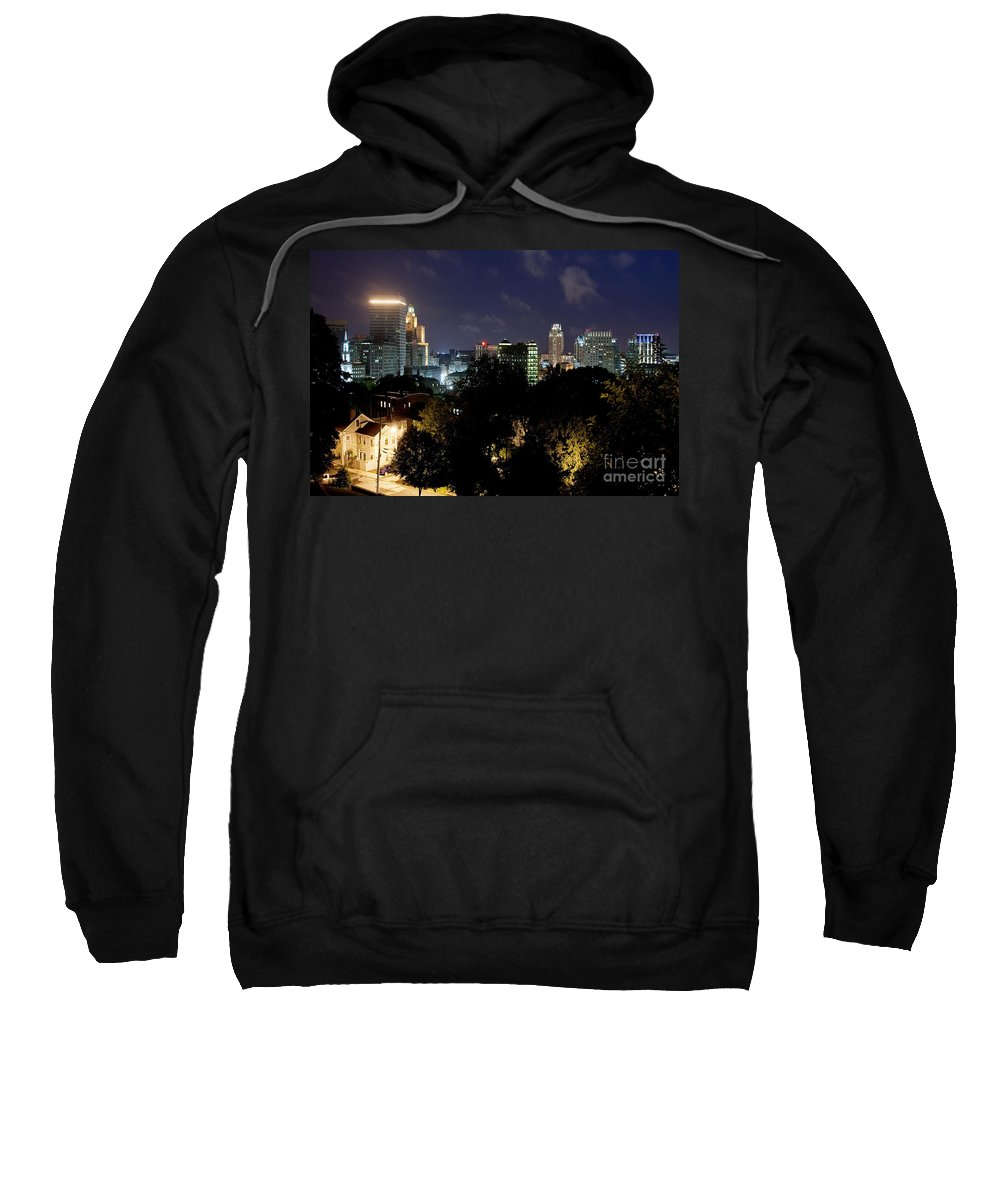 Prospect Terrace Park Sweatshirt featuring the photograph Providence Skyline At Dusk by Bill Cobb