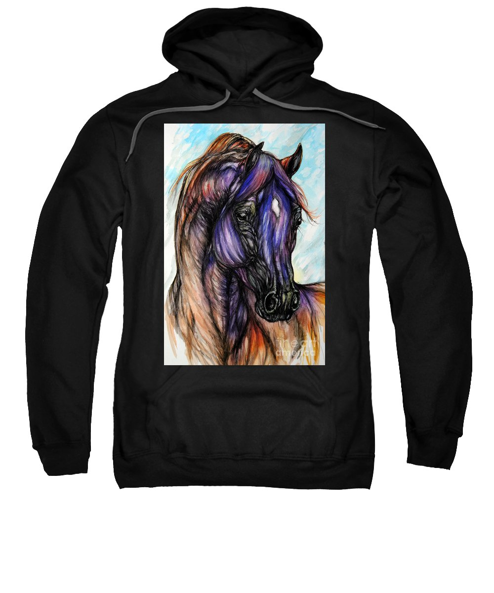Horse Sweatshirt featuring the painting Psychedelic Blue And Orange by Angel Ciesniarska