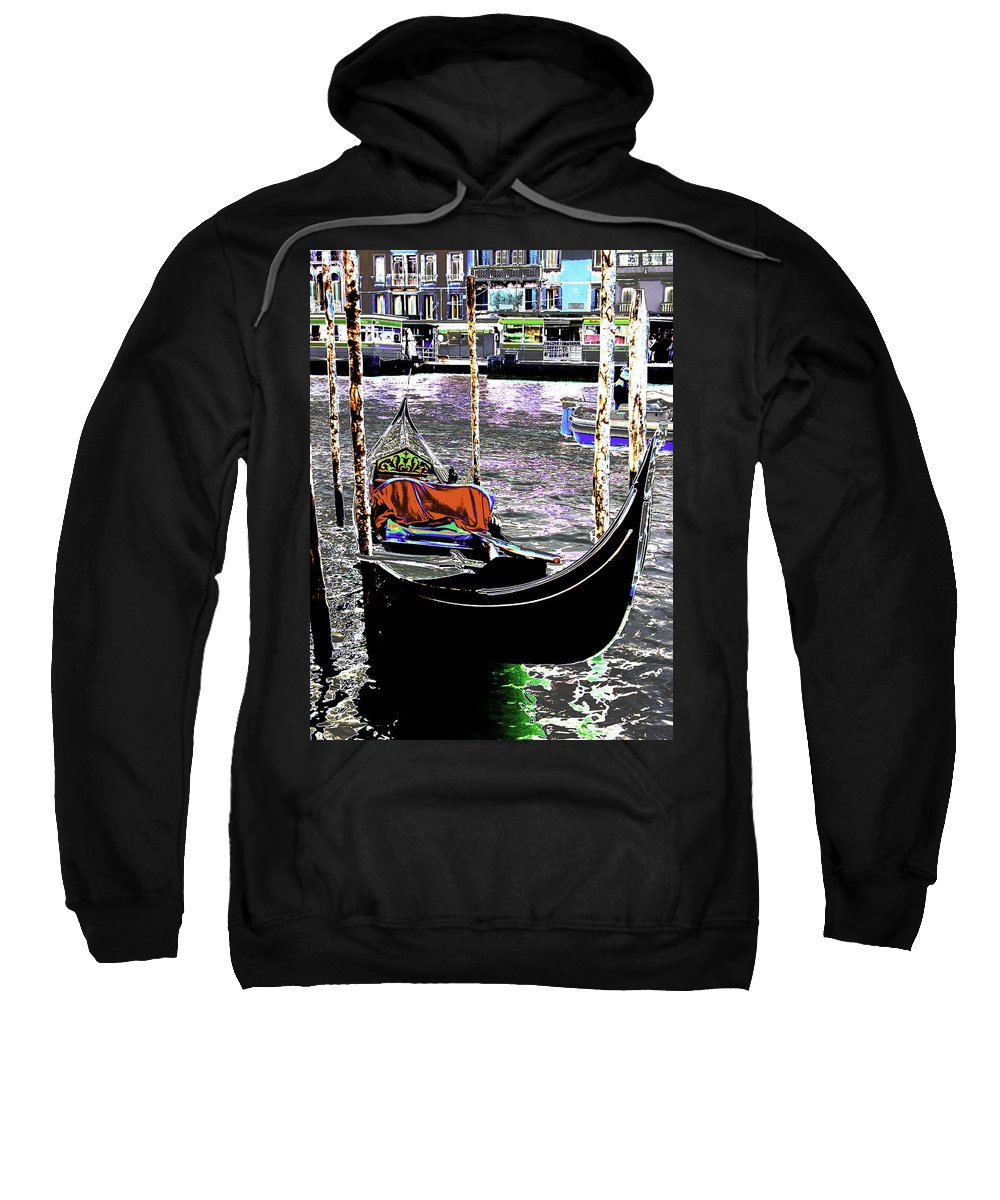 Psychedelic Sweatshirt featuring the photograph Psychedelic Gondola Venice by Peter Lloyd