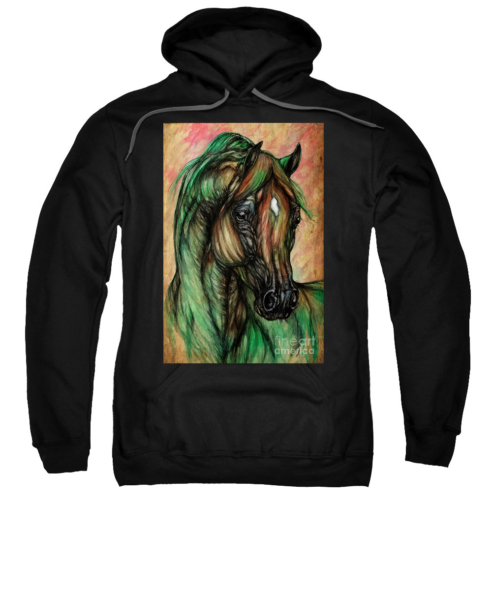Horse Sweatshirt featuring the painting Psychedelic Green And Pink by Angel Ciesniarska