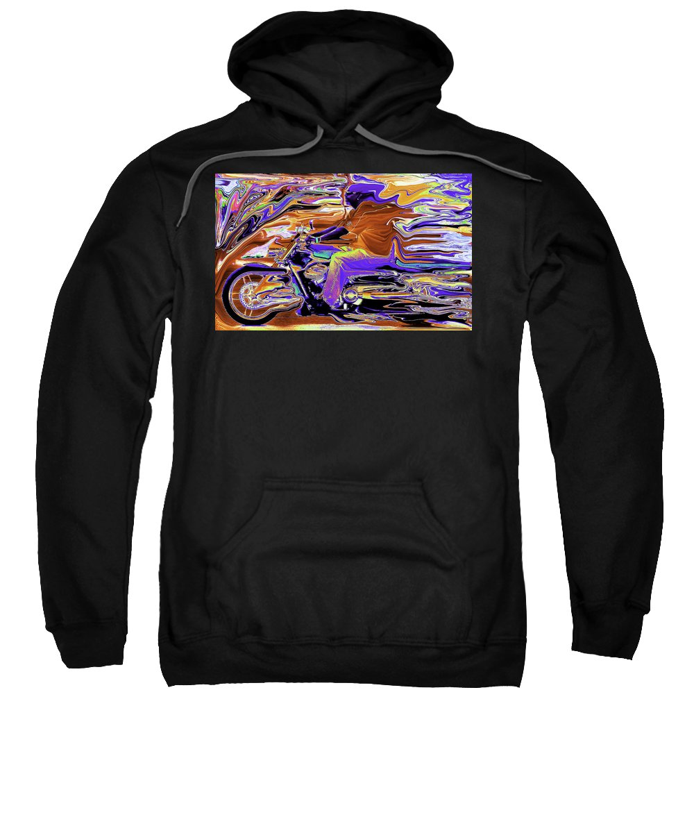 Abstract Sweatshirt featuring the photograph Psycho Harley by Michael Nowotny