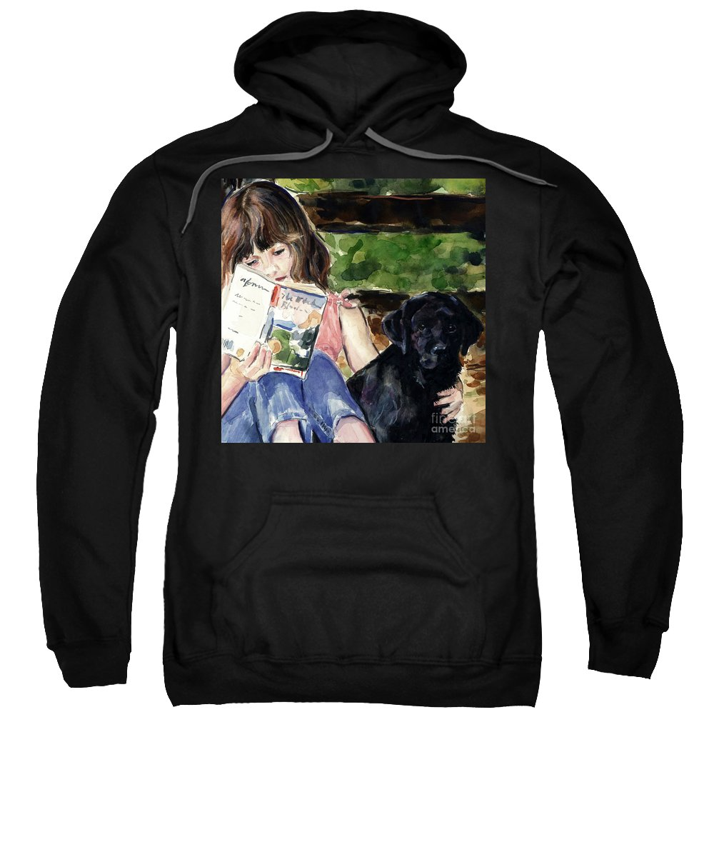 Black Lab Puppy Sweatshirt featuring the painting Pup And Paperback by Molly Poole