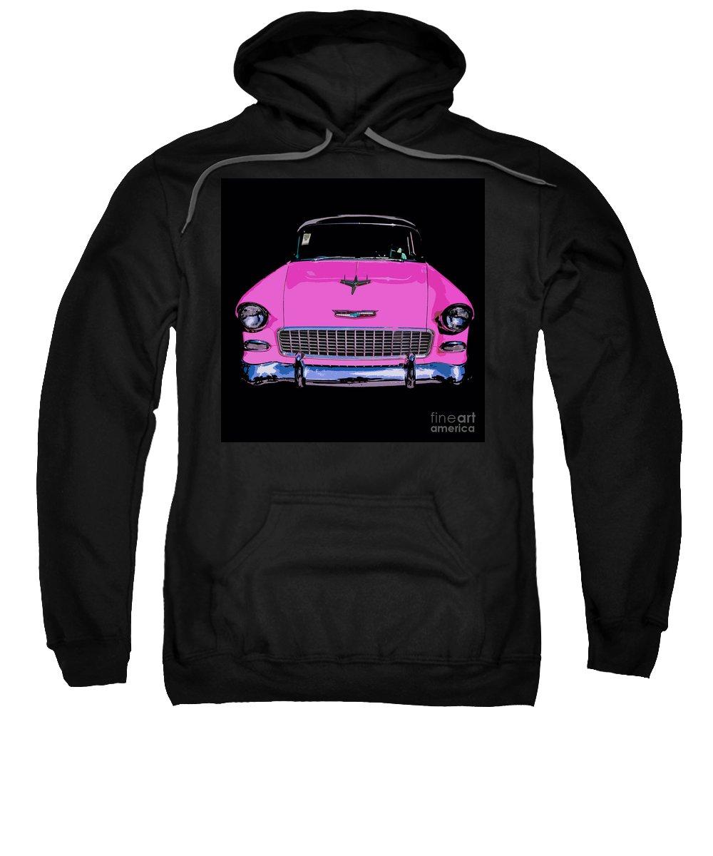 Car Sweatshirt featuring the photograph Purple Chevy Pop Art by Edward Fielding