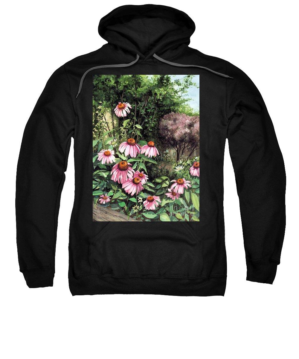 Flowers Sweatshirt featuring the painting Purple Coneflowers by Barbara Jewell