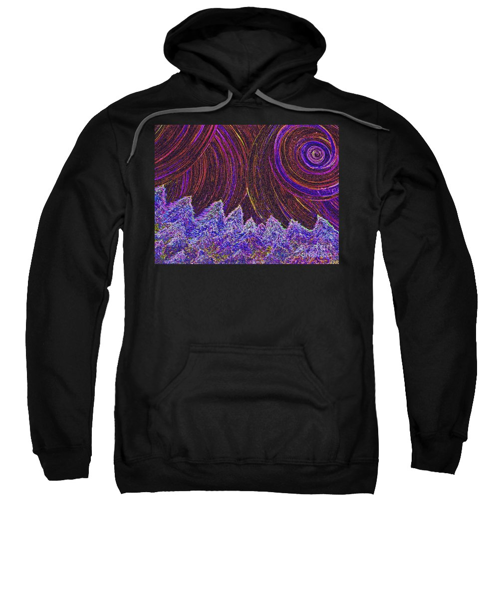 First Star Sweatshirt featuring the painting Purple Forest Moon by First Star Art