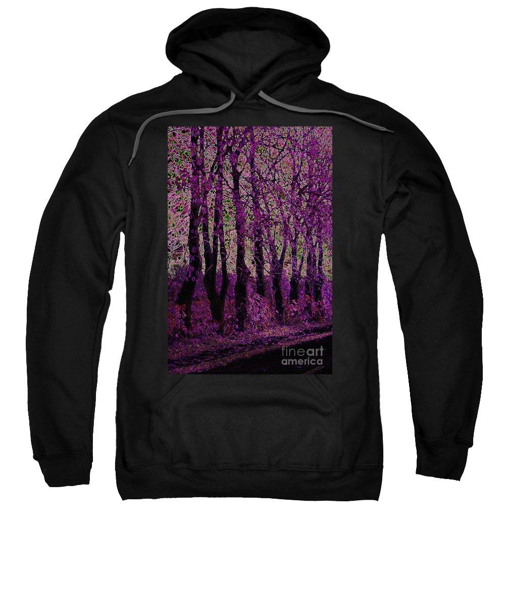 Purple Sweatshirt featuring the digital art Purple Trees by Carol Lynch
