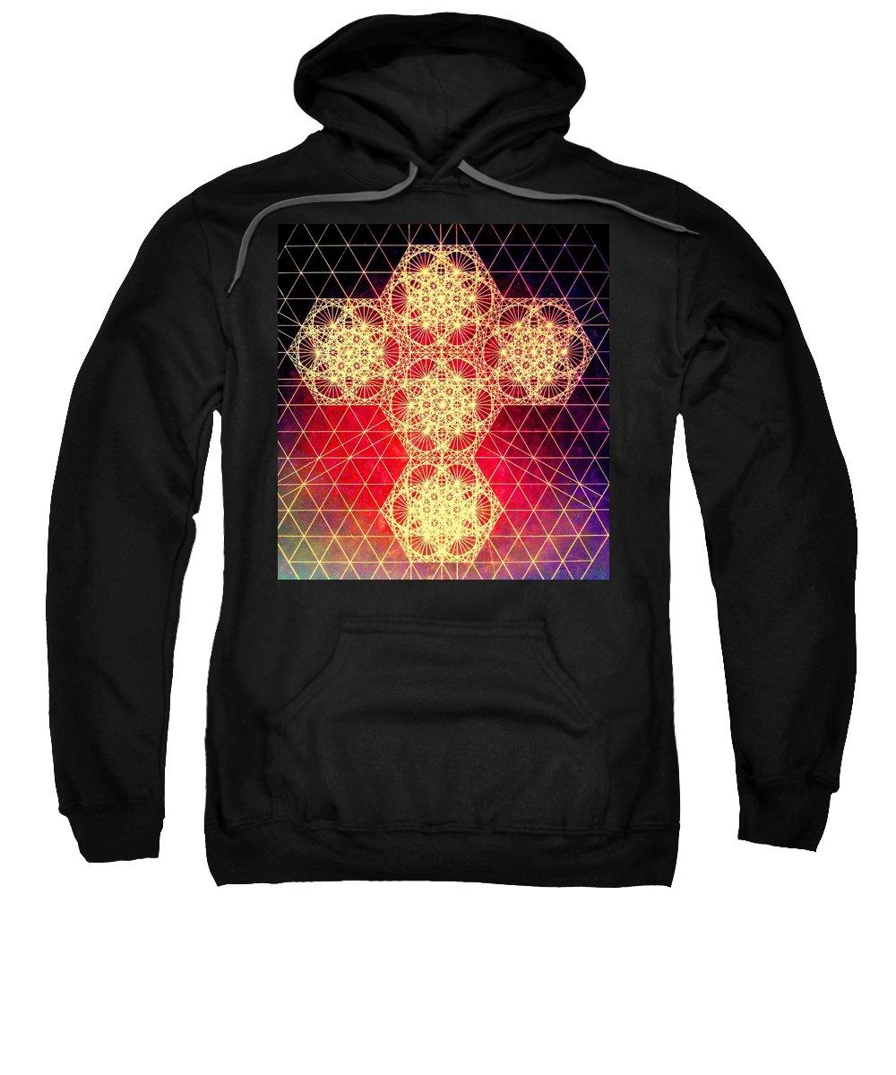 Cross Sweatshirt featuring the drawing Quantum Cross Hand Drawn by Jason Padgett