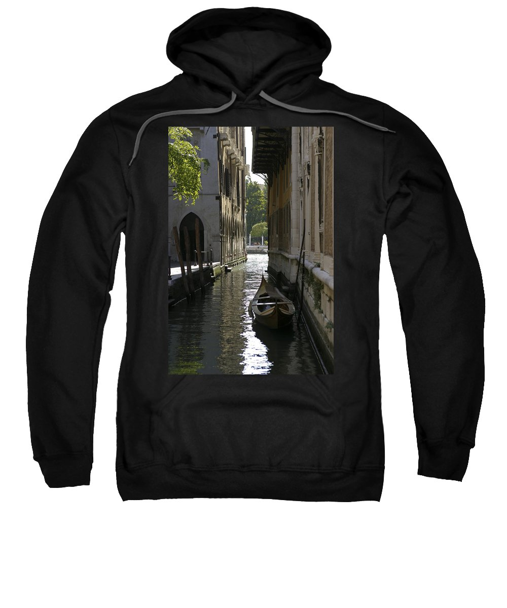 Canal Sweatshirt featuring the photograph Quiet Canal In Venice by Belinda Greb