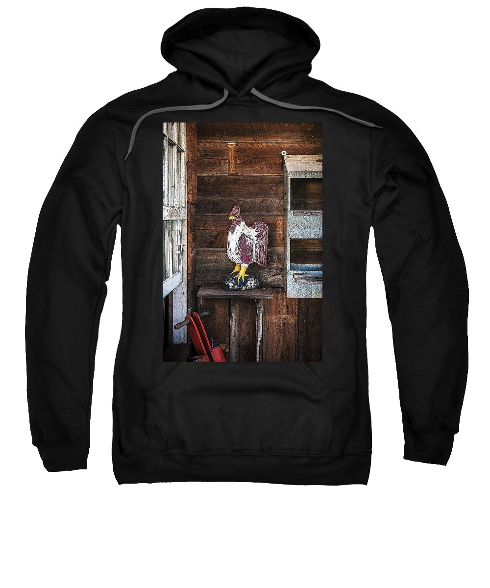 Rooster Sweatshirt featuring the photograph Quiet Rooster Wood Carved by Rich Franco