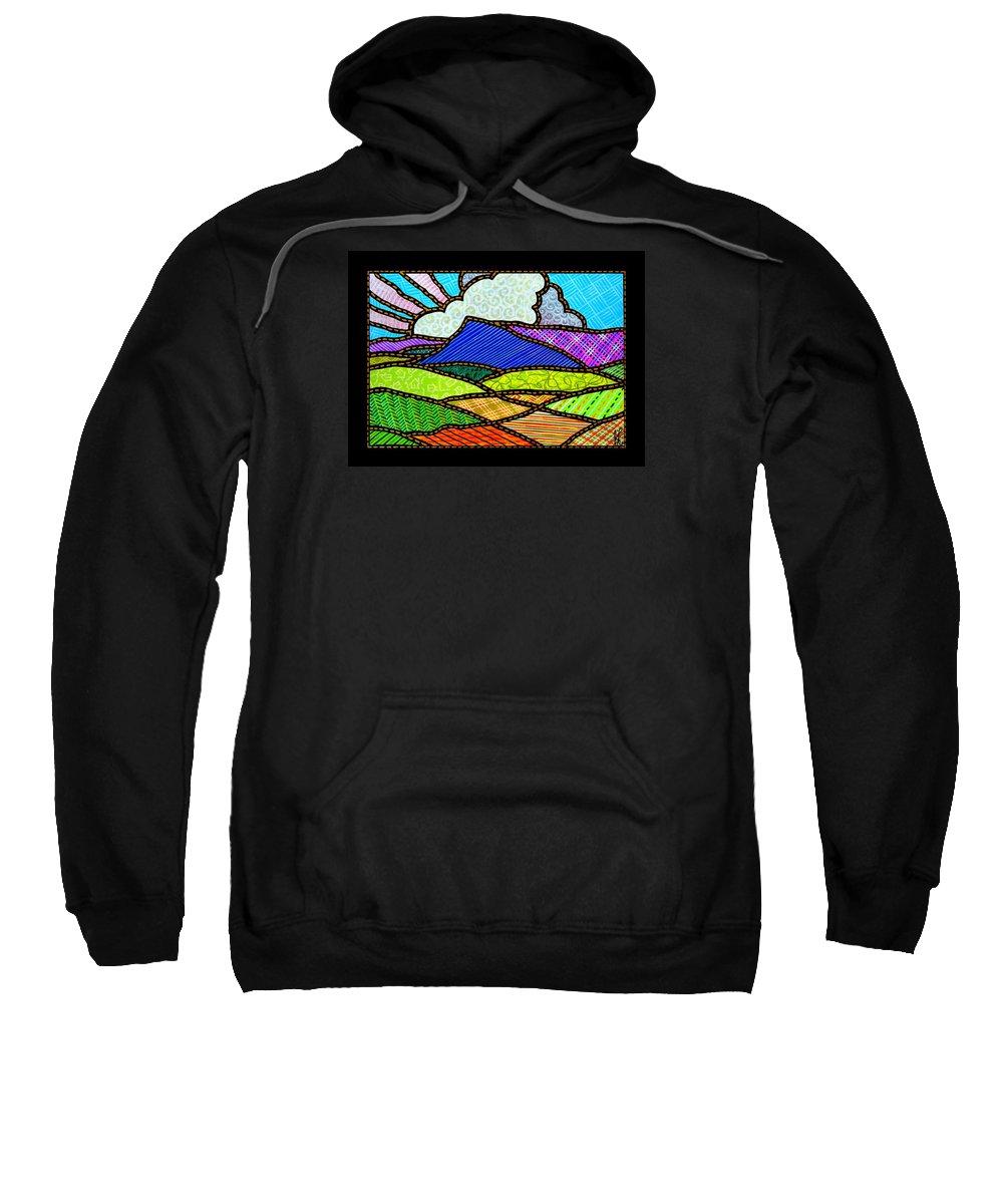 Massanutten Sweatshirt featuring the painting Quilted Massanutten Eastside by Jim Harris