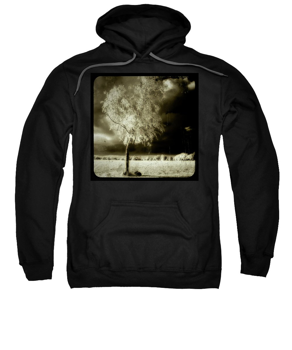 Infrared Sweatshirt featuring the photograph Rabbit In The Distant Shadows by Gothicrow Images
