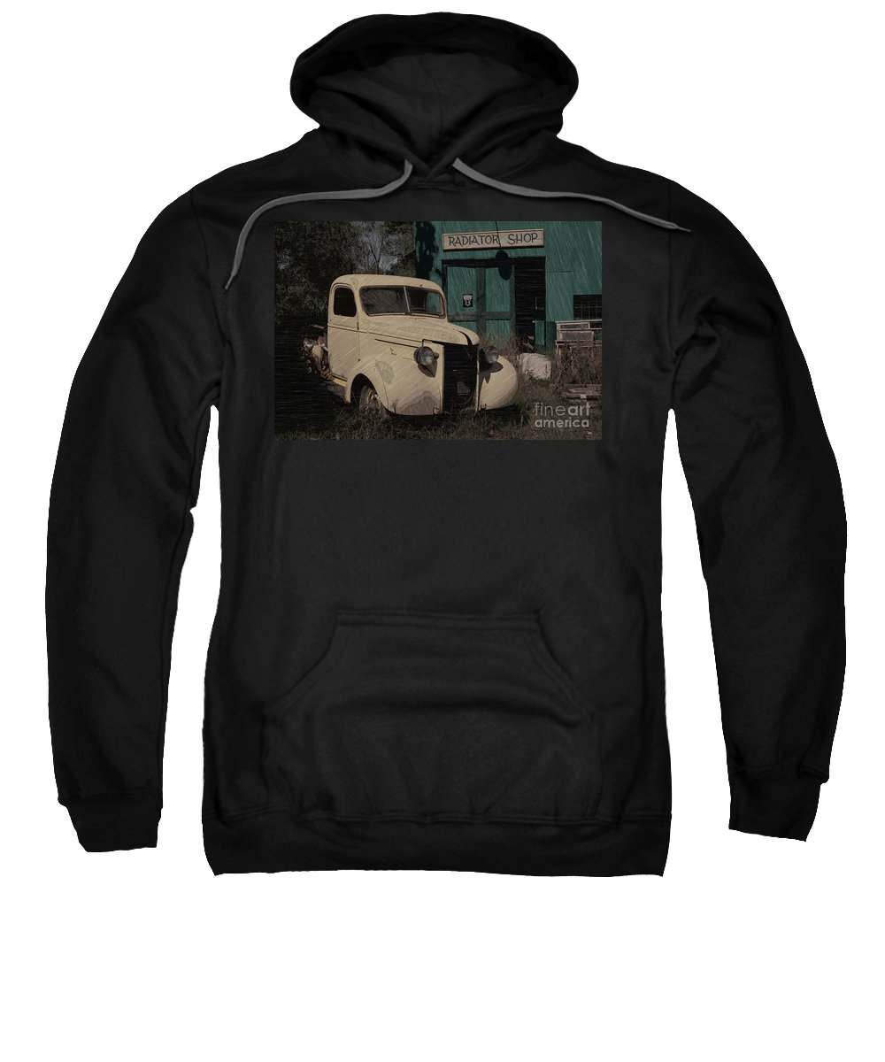 Radiator Shop Sweatshirt featuring the photograph Radiator Shop by Liane Wright