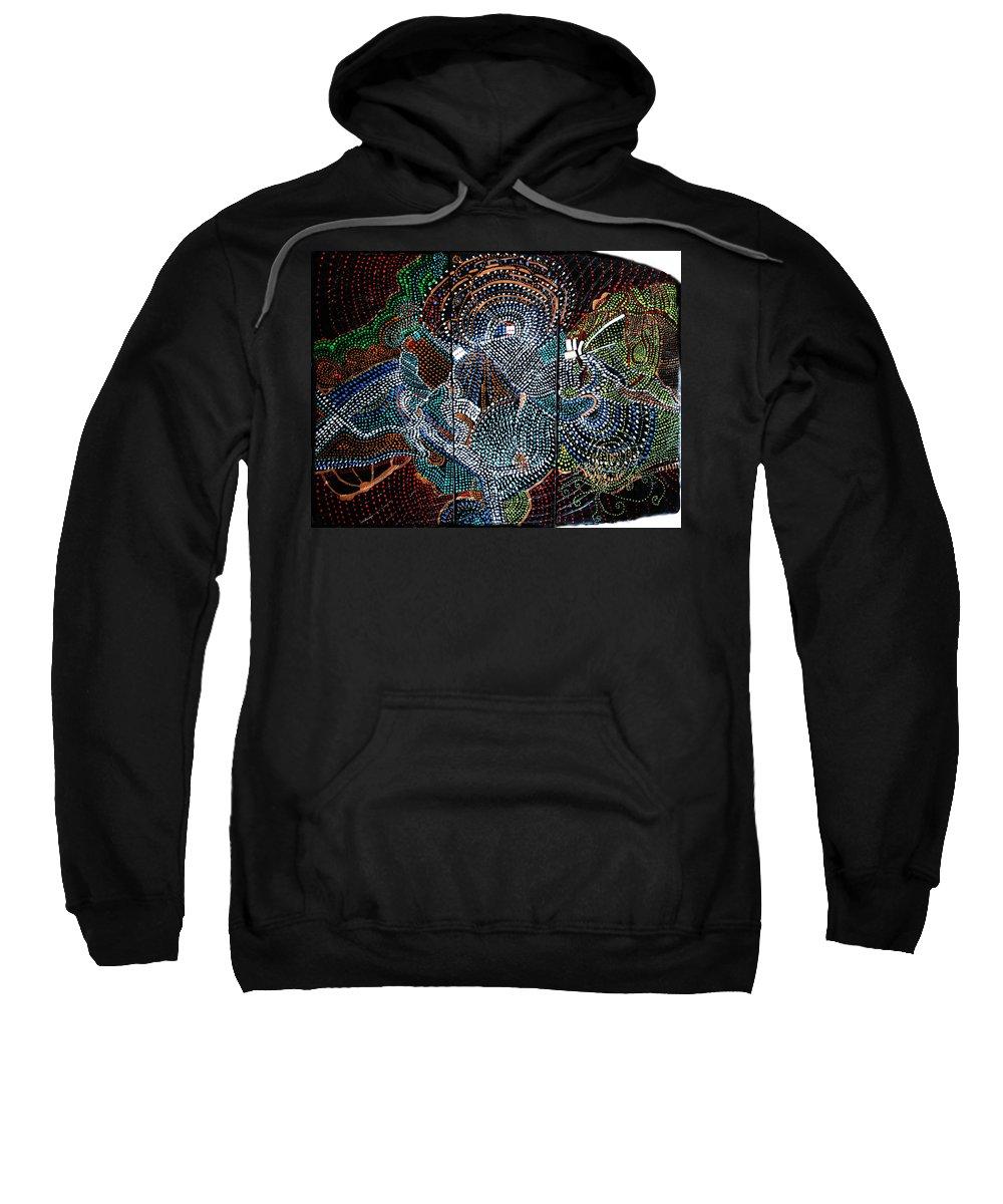 Jesus Sweatshirt featuring the painting Radiohead by Gloria Ssali