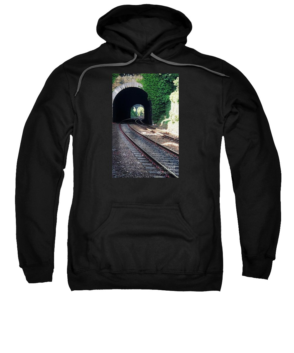 Railroad Tracks Wales U.k. Sweatshirt featuring the photograph Railroad Tracks At Conway Castle, Wales by Marcus Dagan