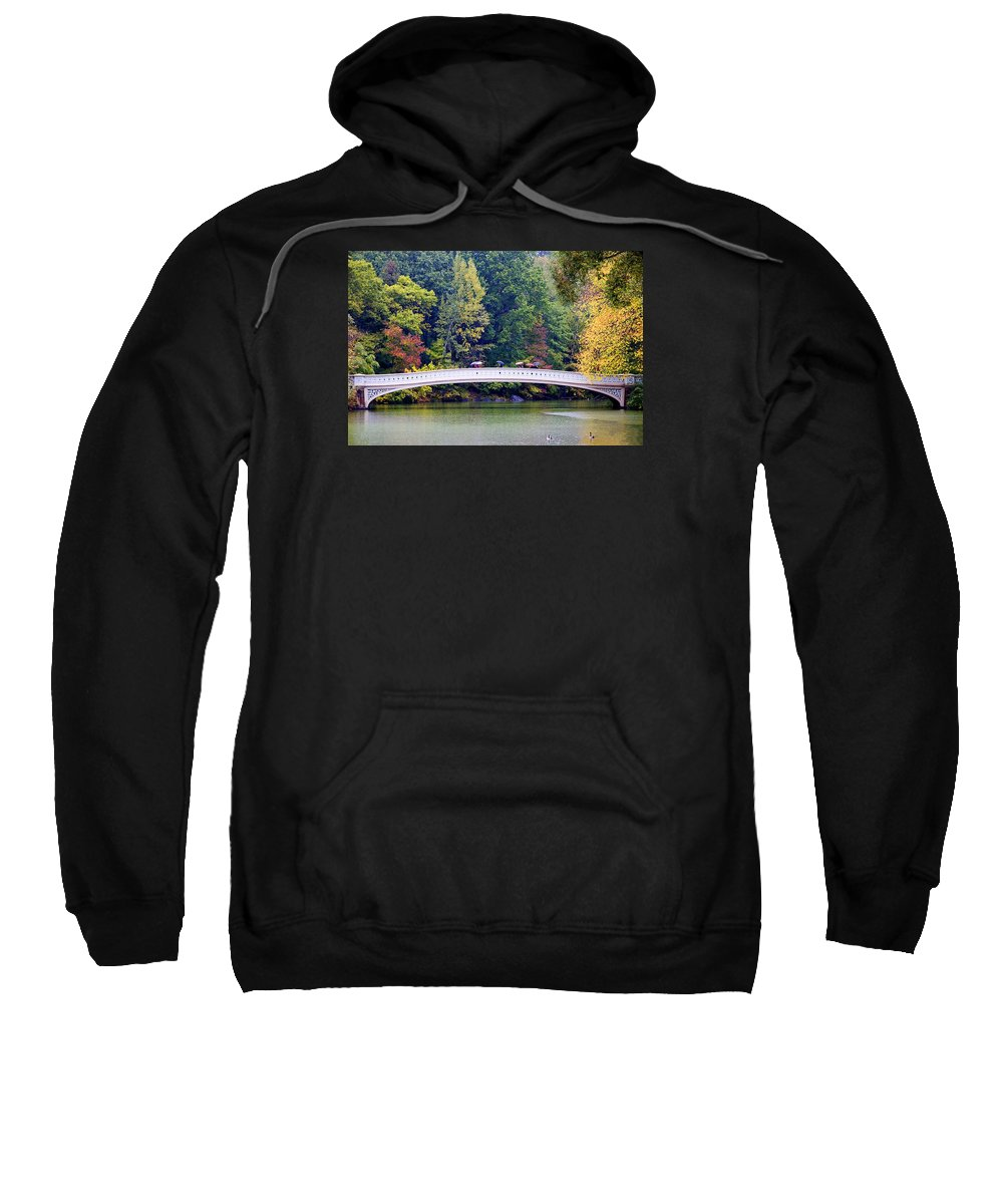 Water Sweatshirt featuring the photograph Rain on Bow Bridge by Andre Aleksis