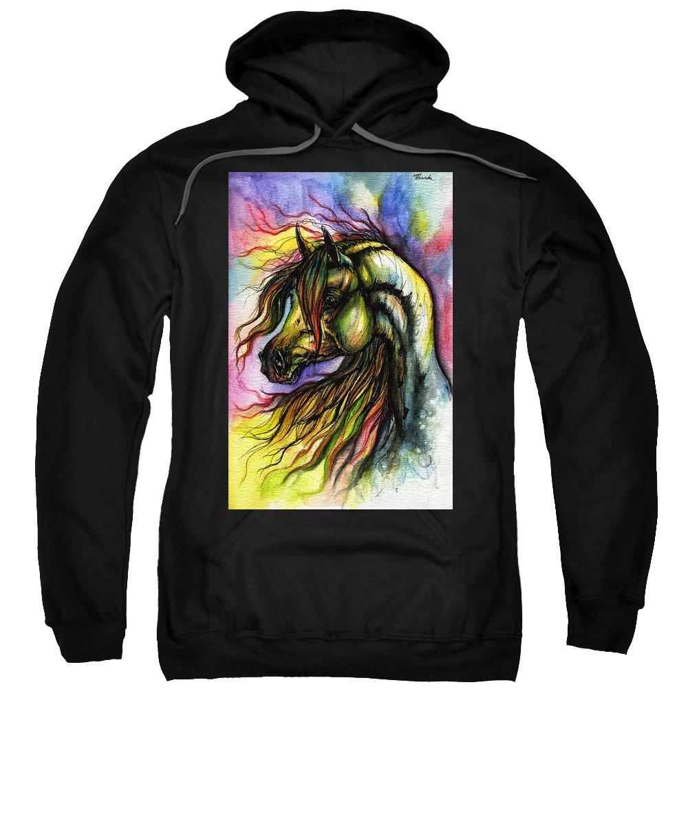 Horse Sweatshirt featuring the painting Rainbow Horse 2 by Angel Ciesniarska