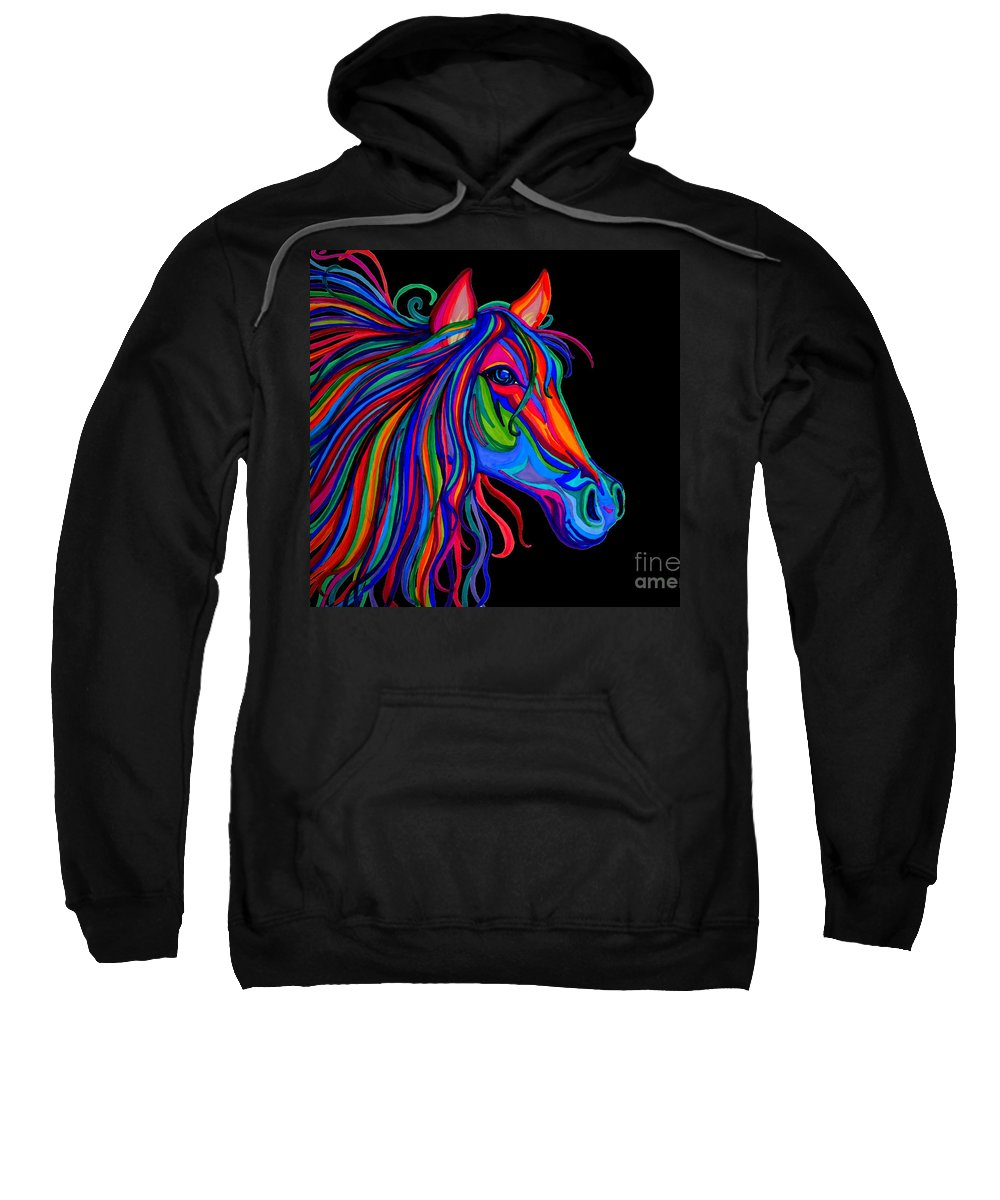Horse Sweatshirt featuring the drawing Rainbow Horse Head by Nick Gustafson
