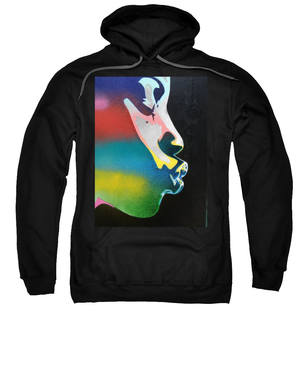 African Sweatshirt featuring the painting Rainbow Kiss by Leon Keay
