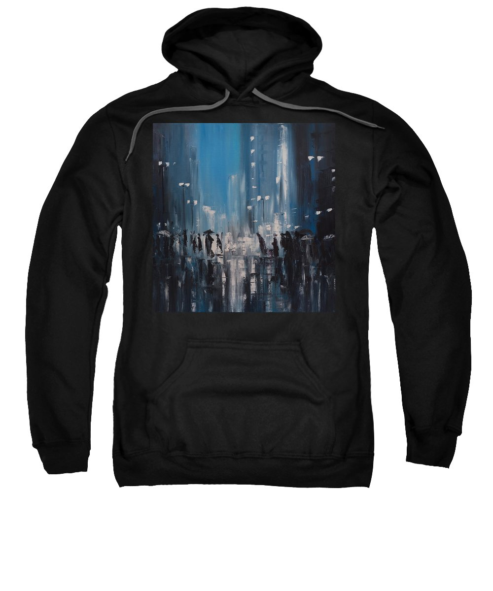 Rain Sweatshirt featuring the painting Rainy City by Salavat Fidai