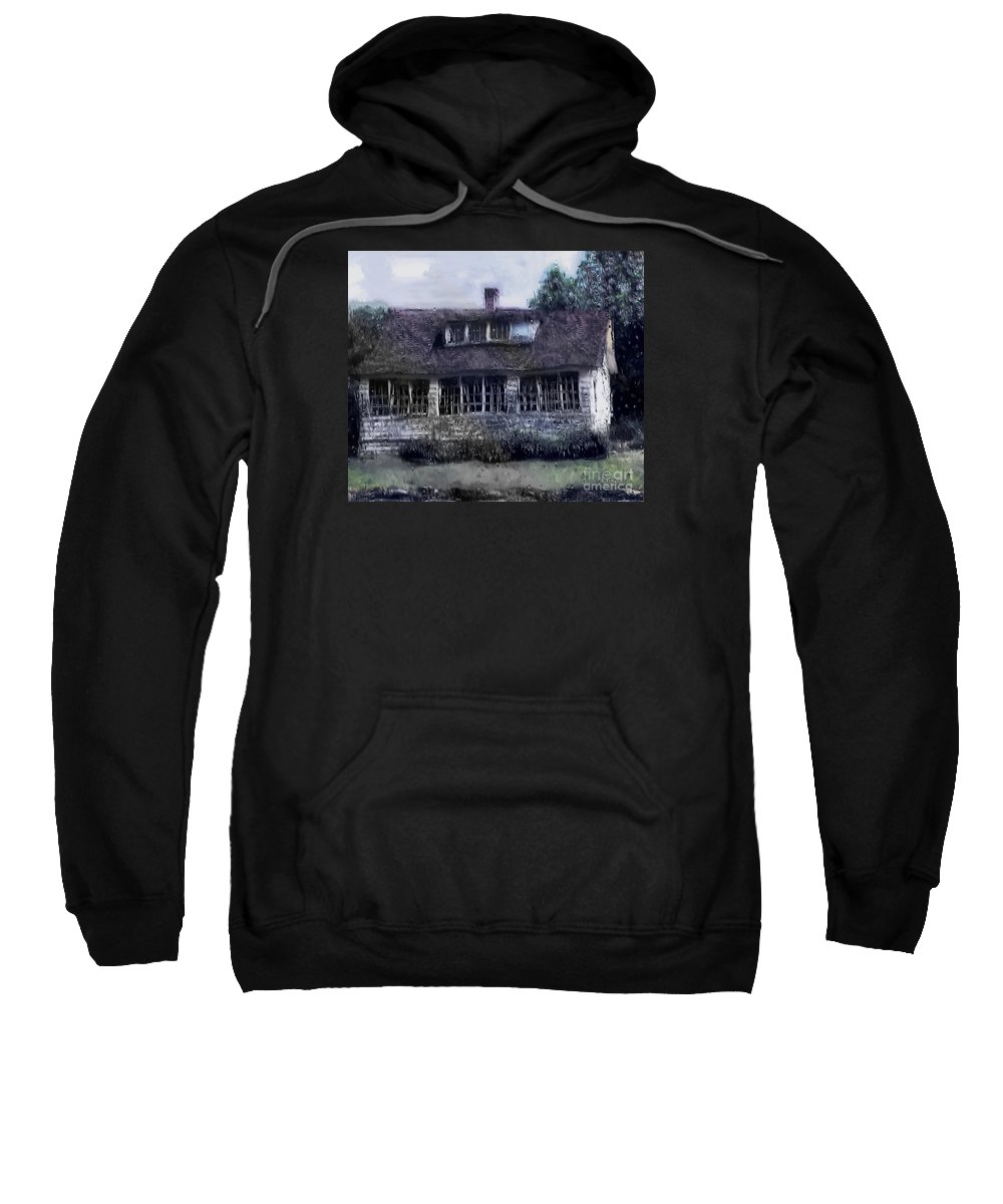 House Sweatshirt featuring the painting Rainy Day Long Ago House by RC deWinter